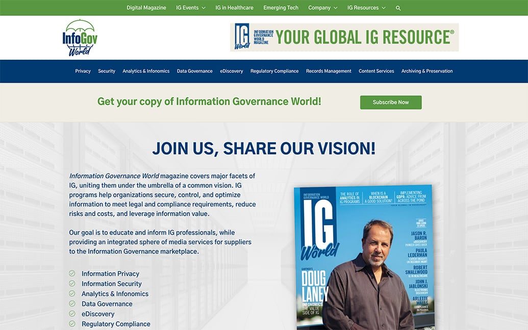 New InfoGov World-front-page